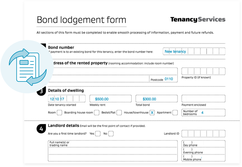 Bond lodgement forms can be prepared in 2 minutes